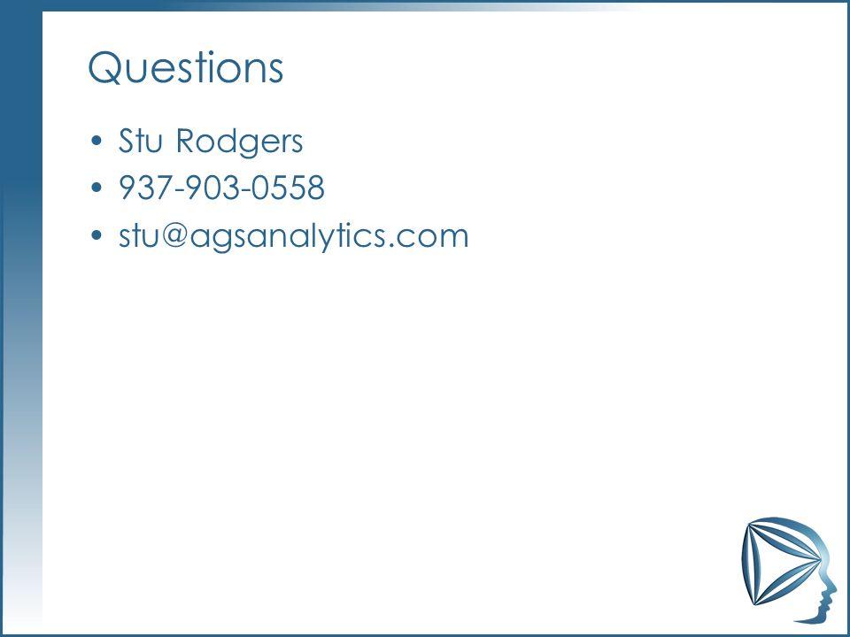 Questions Stu Rodgers 937-903-0558 stu@agsanalytics.com