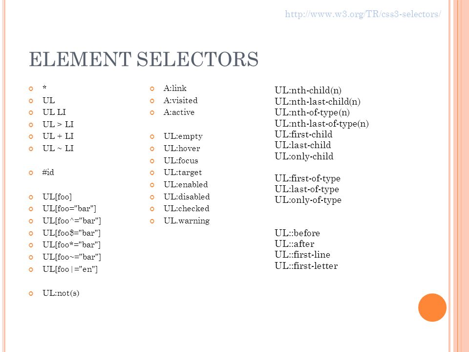 ELEMENT SELECTORS * UL UL LI UL > LI UL + LI UL ~ LI #id UL[foo] UL[foo= bar ] UL[foo^= bar ] UL[foo$= bar ] UL[foo*= bar ] UL[foo~= bar ] UL[foo|= en ] UL:not(s) A:link A:visited A:active UL:empty UL:hover UL:focus UL:target UL:enabled UL:disabled UL:checked UL.warning UL:nth-child(n) UL:nth-last-child(n) UL:nth-of-type(n) UL:nth-last-of-type(n) UL:first-child UL:last-child UL:only-child UL:first-of-type UL:last-of-type UL:only-of-type UL::before UL::after UL::first-line UL::first-letter http://www.w3.org/TR/css3-selectors/