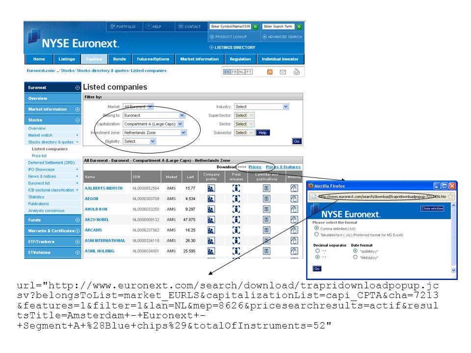 url= http://www.euronext.com/search/download/trapridownloadpopup.jc sv?belongsToList=market_EURLS&capitalizationList=capi_CPTA&cha=7213 &features=1&filter=1&lan=NL&mep=8626&pricesearchresults=actif&resul tsTitle=Amsterdam+-+Euronext+- +Segment+A+%28Blue+chips%29&totalOfInstruments=52