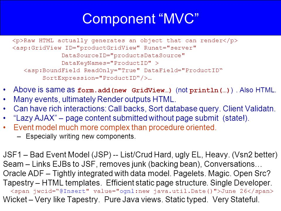 Component MVC Above is same as form.add(new GridView…) (not println(…) ).