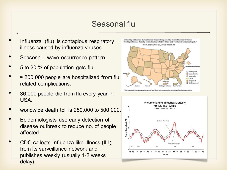 Seasonal flu Influenza (flu) is contagious respiratory illness caused by influenza viruses.