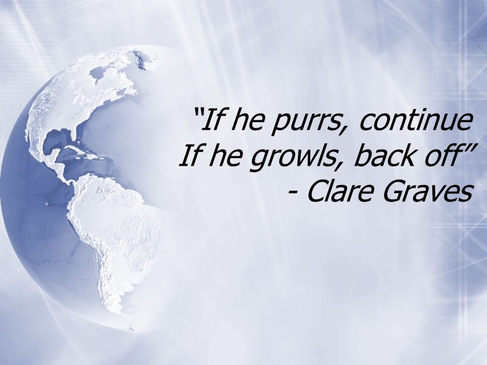 If he purrs, continue If he growls, back off - Clare Graves