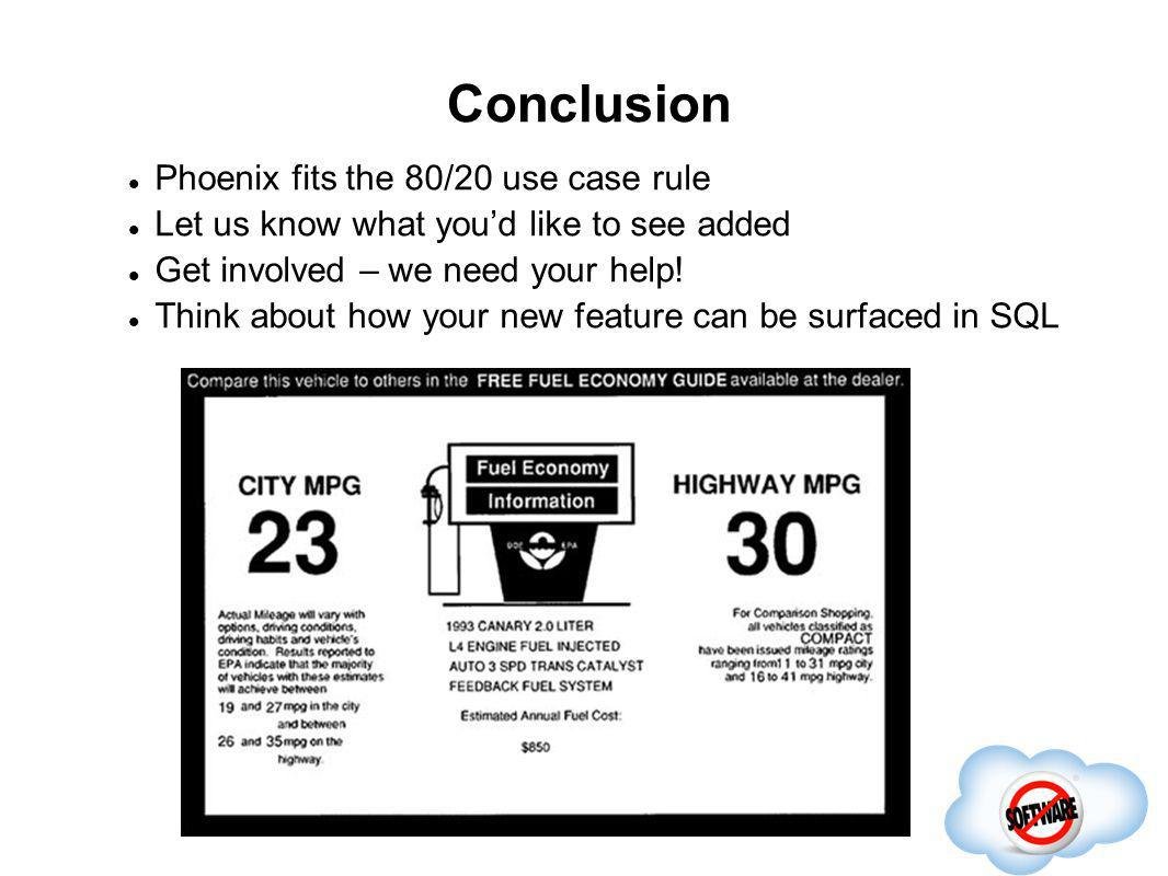 Conclusion Phoenix fits the 80/20 use case rule Let us know what youd like to see added Get involved – we need your help! Think about how your new fea