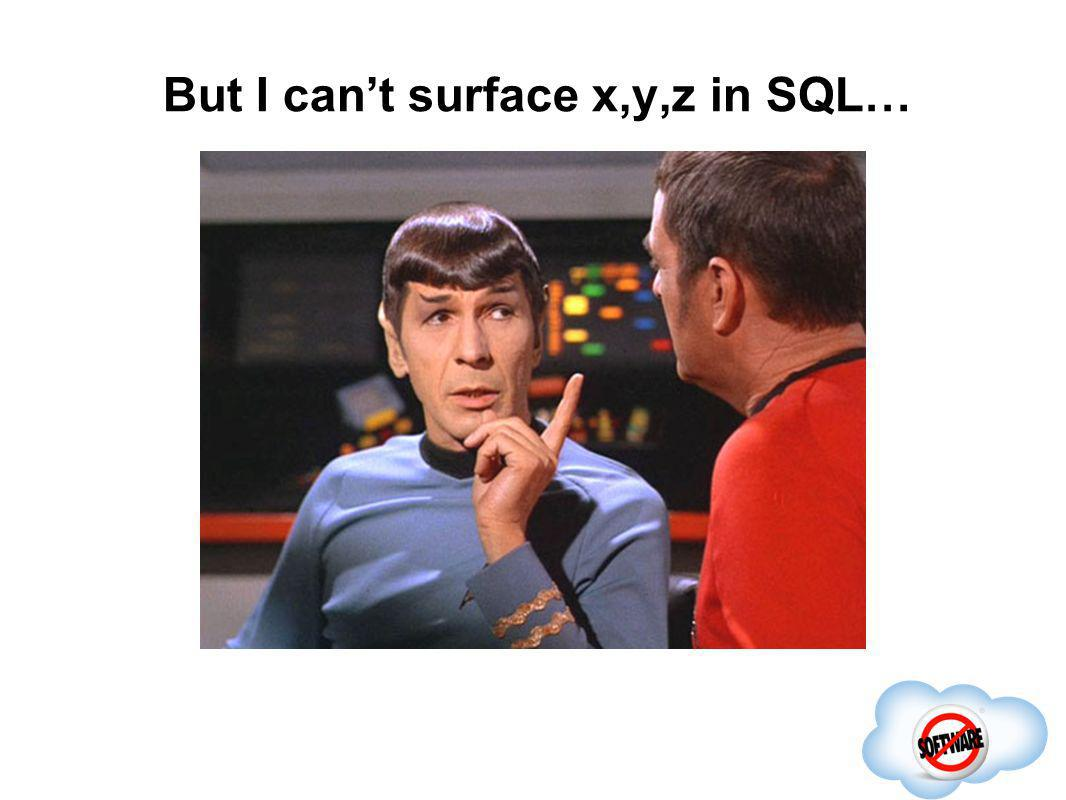 But I cant surface x,y,z in SQL… Completed