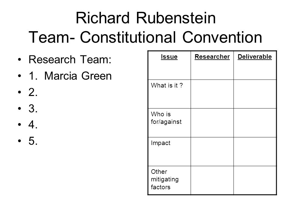 Richard Rubenstein Team- Constitutional Convention Research Team: 1.