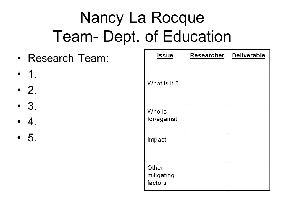 Nancy La Rocque Team- Dept. of Education Research Team: 1.
