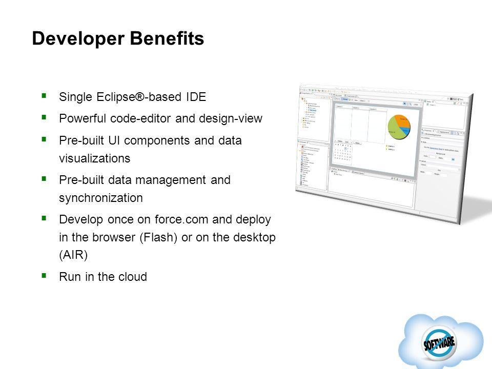 Single Eclipse®-based IDE Powerful code-editor and design-view Pre-built UI components and data visualizations Pre-built data management and synchroni