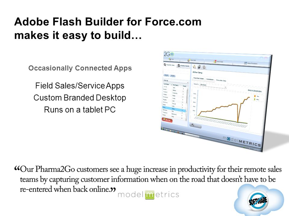Field Sales/Service Apps Custom Branded Desktop Runs on a tablet PC Occasionally Connected Apps Adobe Flash Builder for Force.com makes it easy to bui
