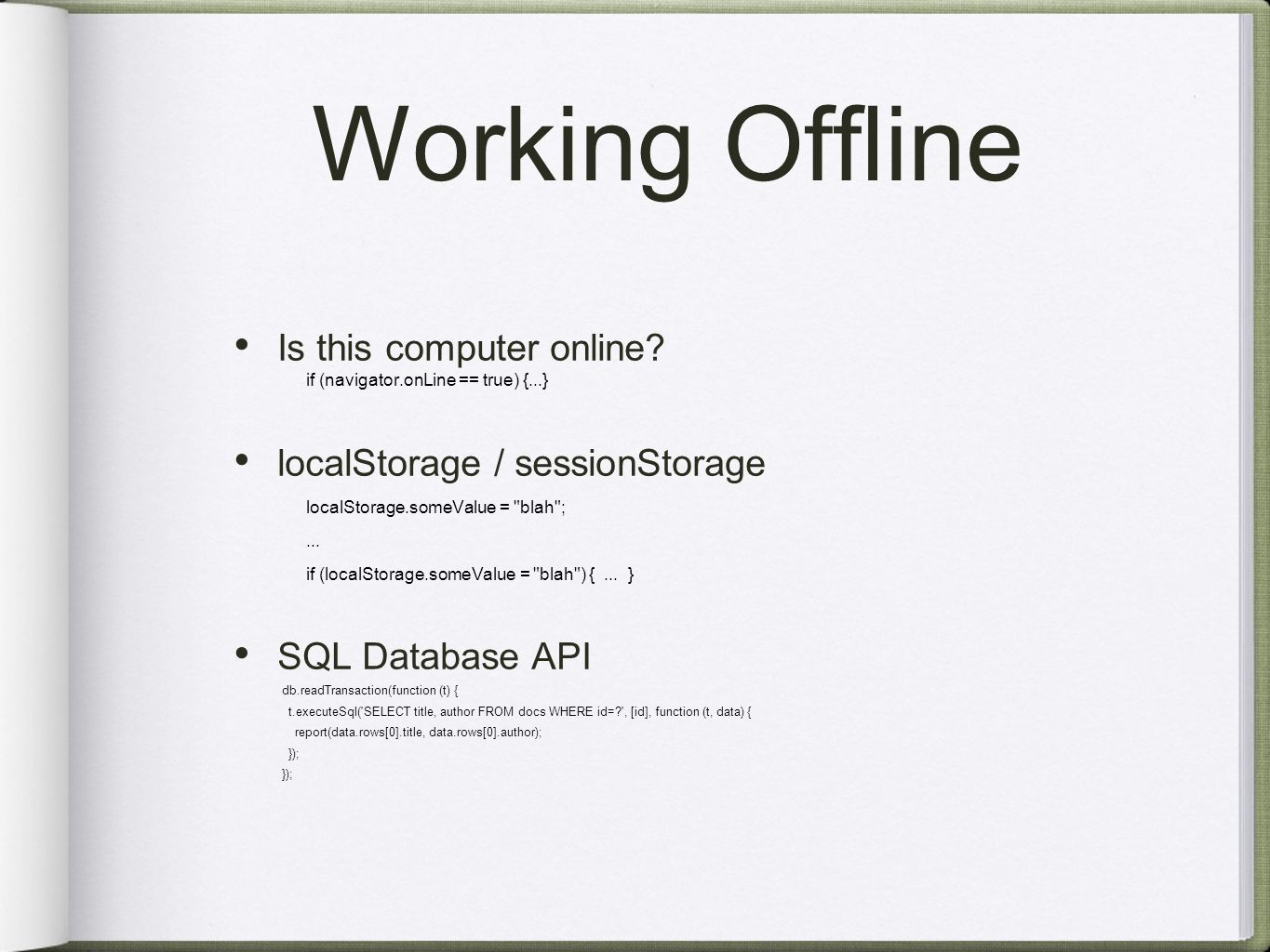 Working Offline Is this computer online.