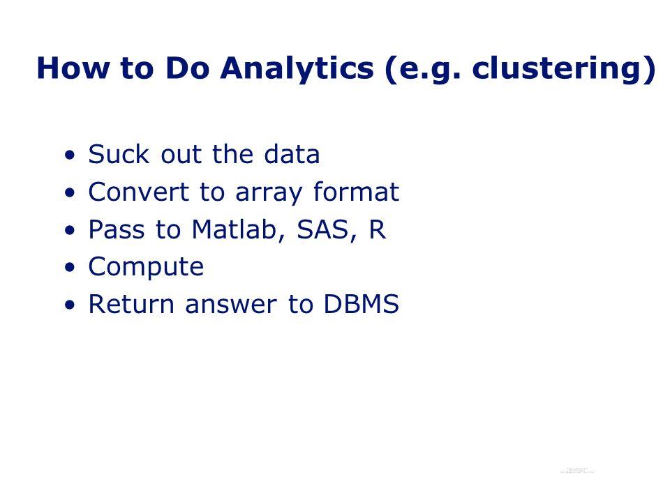 How to Do Analytics (e.g.
