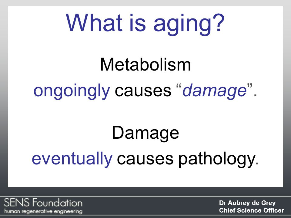 Dr Aubrey de Grey Chief Science Officer Metabolism ongoingly causes damage. Damage eventually causes pathology. What is aging?