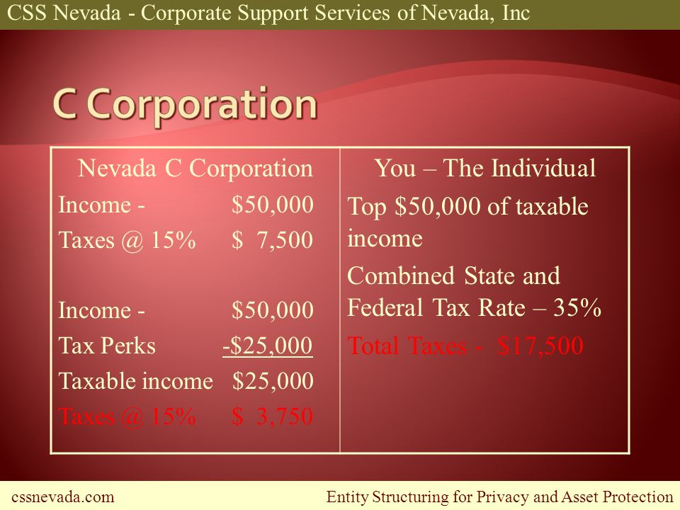 cssnevada.com Entity Structuring for Privacy and Asset Protection CSS Nevada - Corporate Support Services of Nevada, Inc Nevada C Corporation Income - $50,000 Taxes @ 15% $ 7,500 Income - $50,000 Tax Perks -$25,000 Taxable income $25,000 Taxes @ 15% $ 3,750 You – The Individual Top $50,000 of taxable income Combined State and Federal Tax Rate – 35% Total Taxes - $17,500