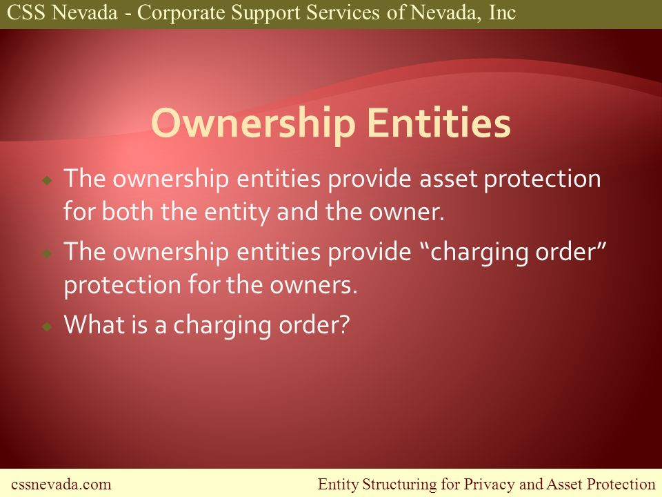 cssnevada.com Entity Structuring for Privacy and Asset Protection CSS Nevada - Corporate Support Services of Nevada, Inc The ownership entities provide asset protection for both the entity and the owner.