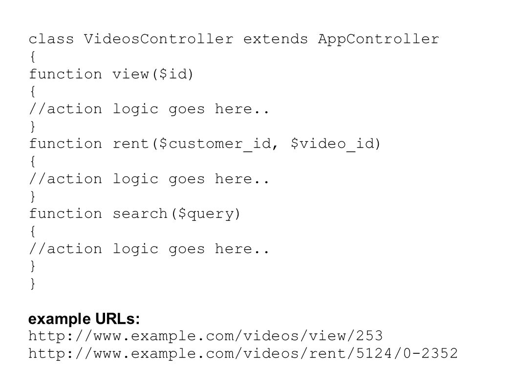 class VideosController extends AppController { function view($id) { //action logic goes here..