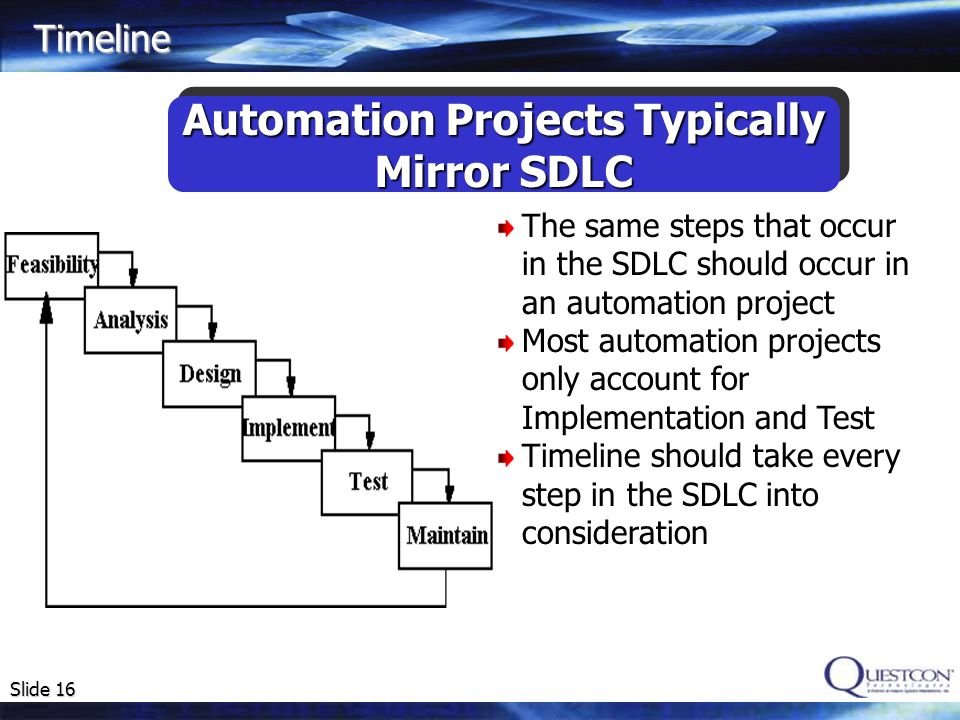 Slide 16 Automation Projects Typically Mirror SDLC Automation Projects Typically Mirror SDLC Timeline The same steps that occur in the SDLC should occ