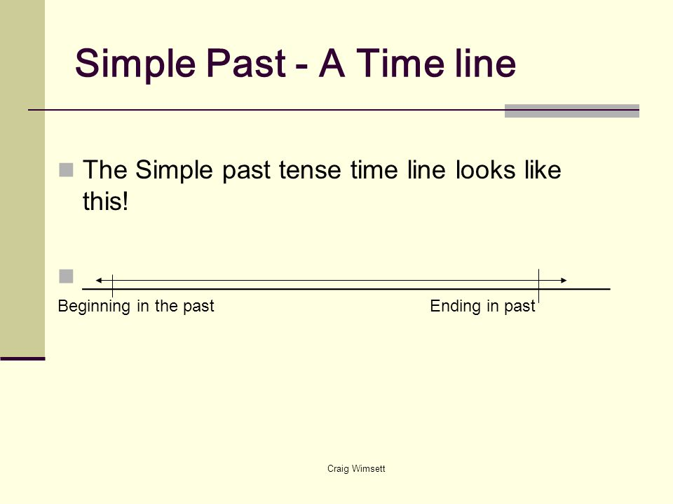 Craig Wimsett Simple Past - A Time line The Simple past tense time line looks like this! ____________________________________ Beginning in the past En