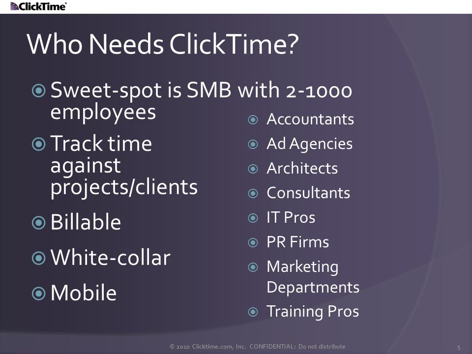 The ClickTime Connector utilizes filters and a patented labeling feature to return only those time entries you want to synchronize wile ensuring you do not duplicate entries in your company file.