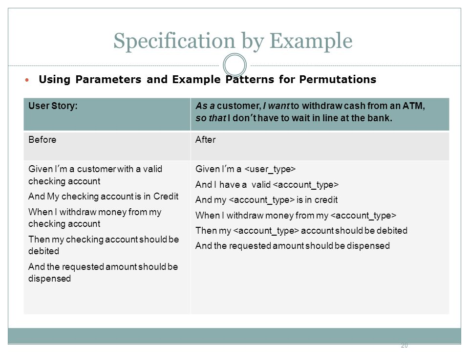 Specification by Example Using Parameters and Example Patterns for Permutations User Story: As a customer, I want to withdraw cash from an ATM, so tha