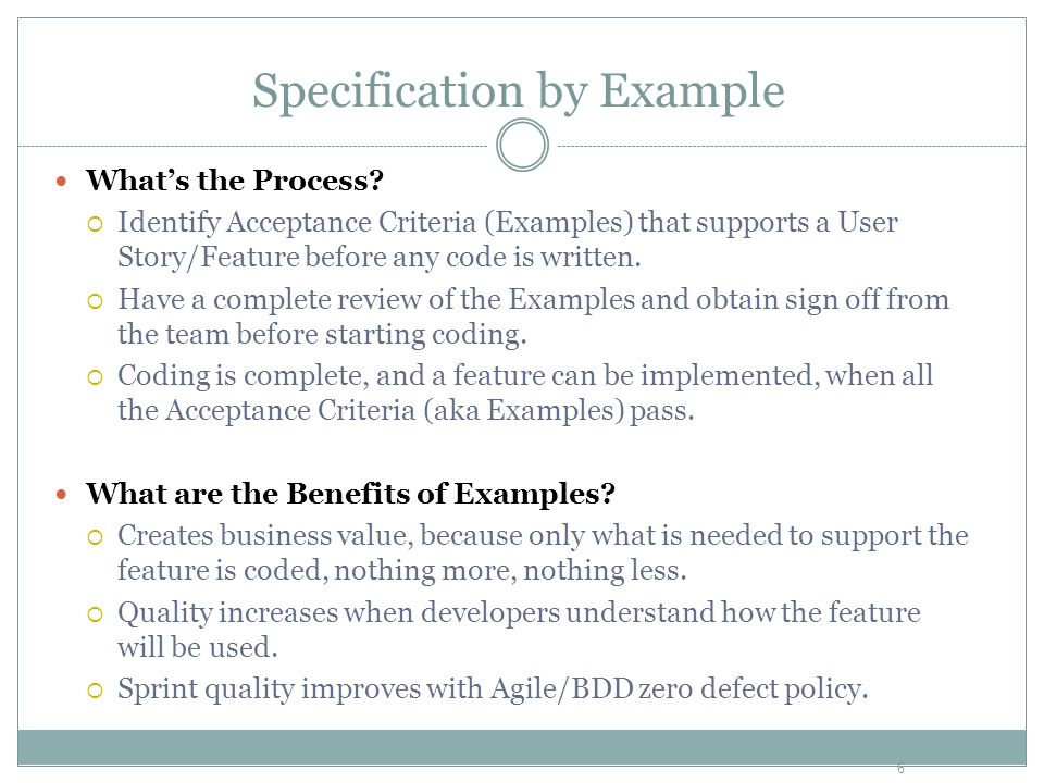 Whats the Process? Identify Acceptance Criteria (Examples) that supports a User Story/Feature before any code is written. Have a complete review of th