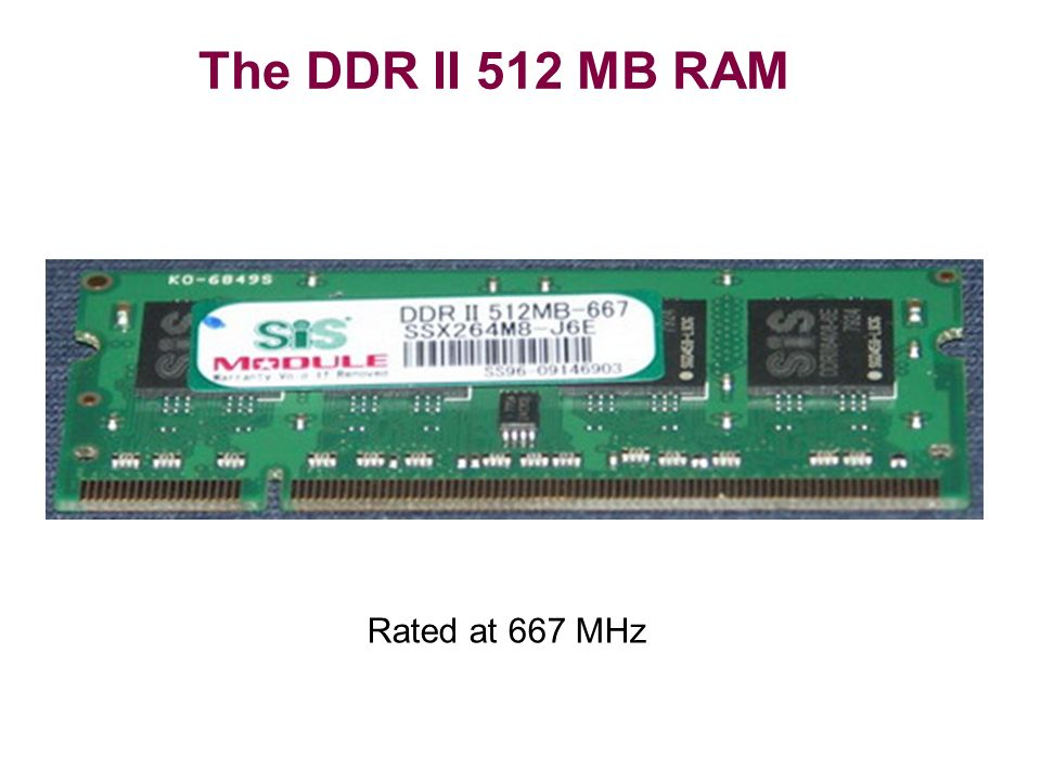 The DDR II 512 MB RAM Rated at 667 MHz