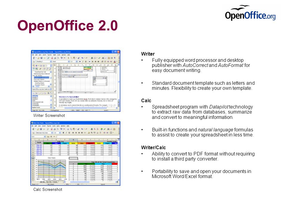 OpenOffice 2.0 Writer Fully equipped word processor and desktop publisher with AutoCorrect and AutoFormat for easy document writing.