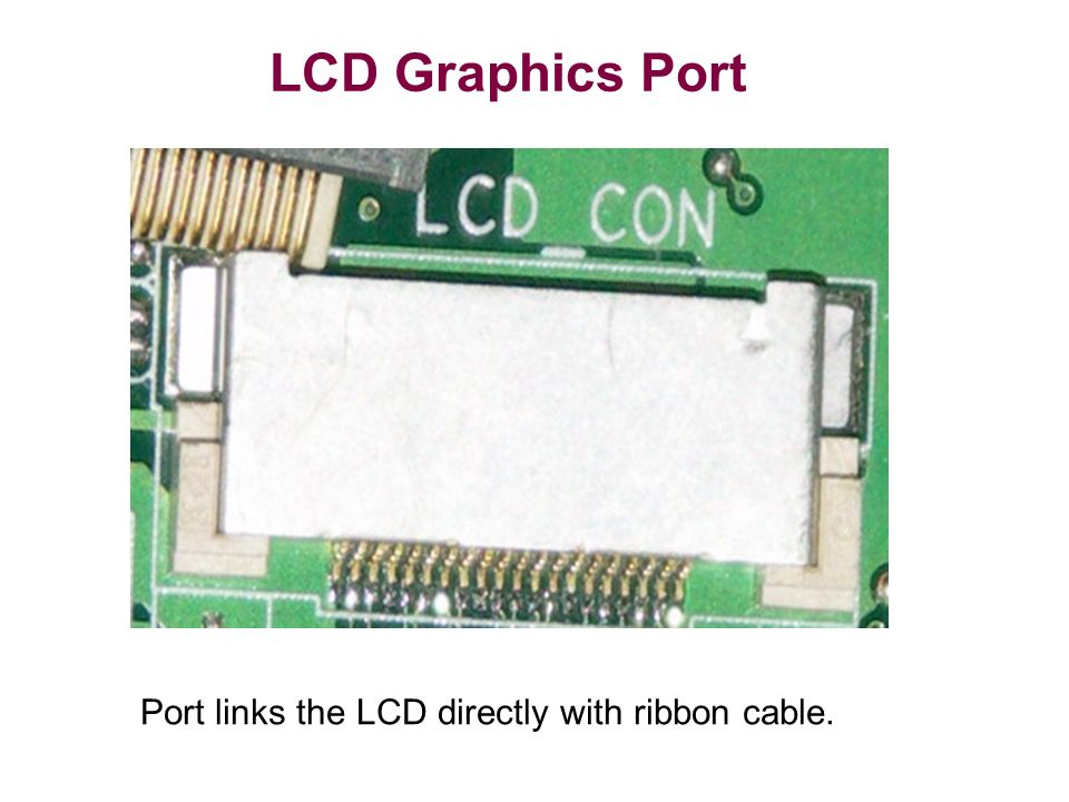 LCD Graphics Port Port links the LCD directly with ribbon cable.