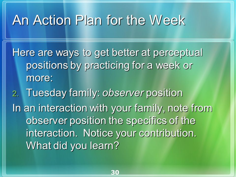 30 An Action Plan for the Week Here are ways to get better at perceptual positions by practicing for a week or more: Here are ways to get better at perceptual positions by practicing for a week or more: 2.