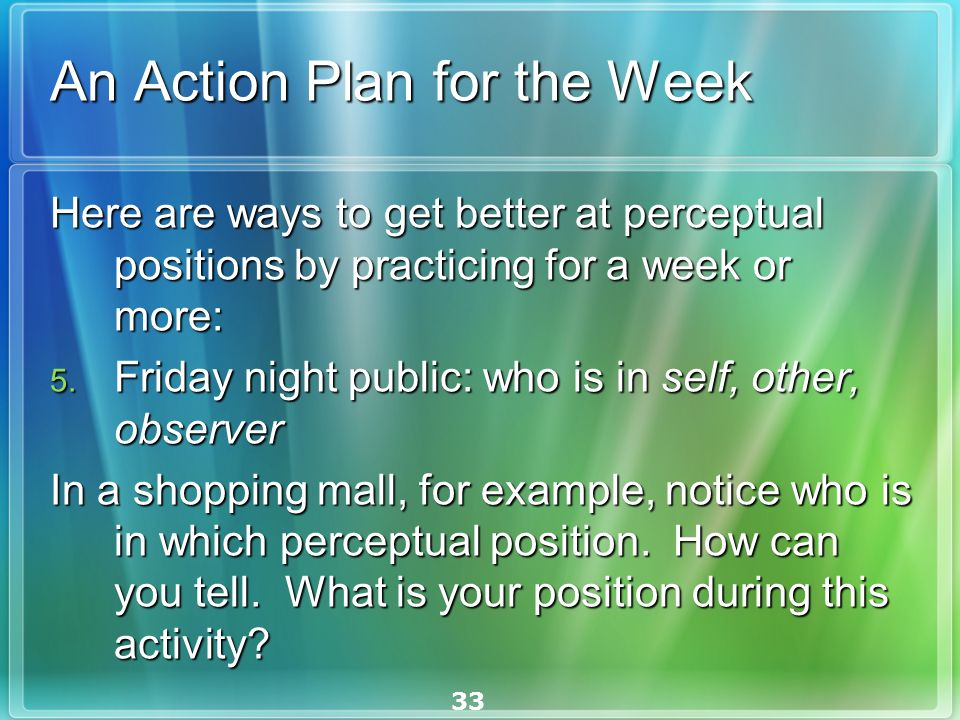 33 An Action Plan for the Week Here are ways to get better at perceptual positions by practicing for a week or more: Here are ways to get better at perceptual positions by practicing for a week or more: 5.