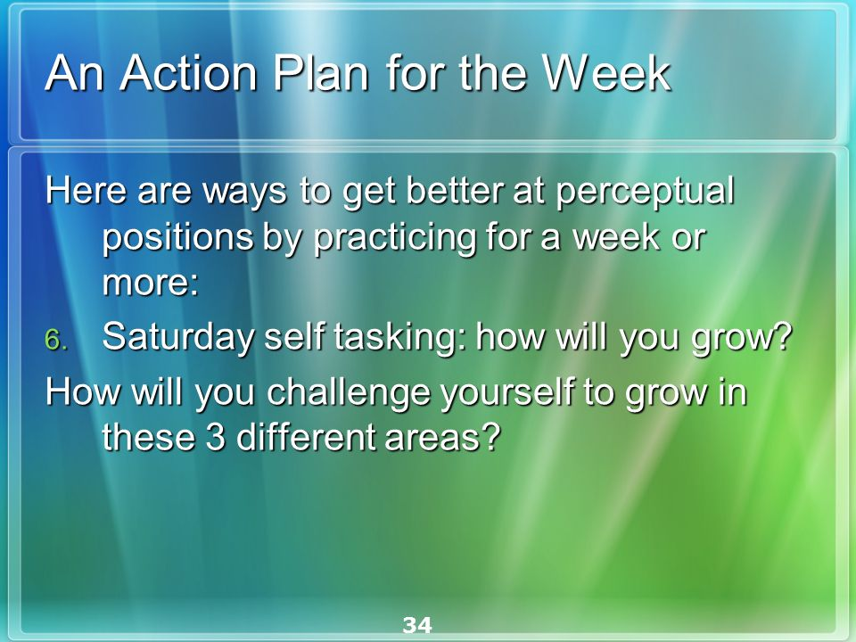 34 An Action Plan for the Week Here are ways to get better at perceptual positions by practicing for a week or more: Here are ways to get better at perceptual positions by practicing for a week or more: 6.