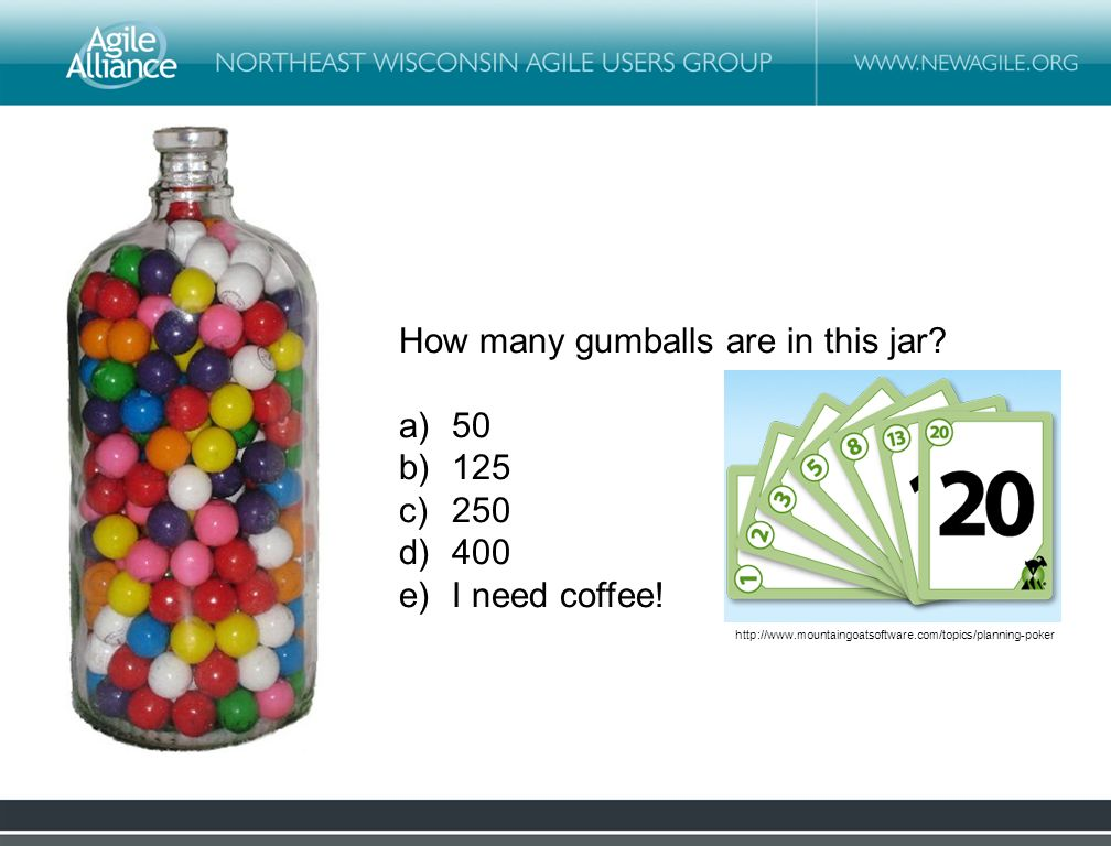 How many gumballs are in this jar. a)50 b)125 c)250 d)400 e)I need coffee.