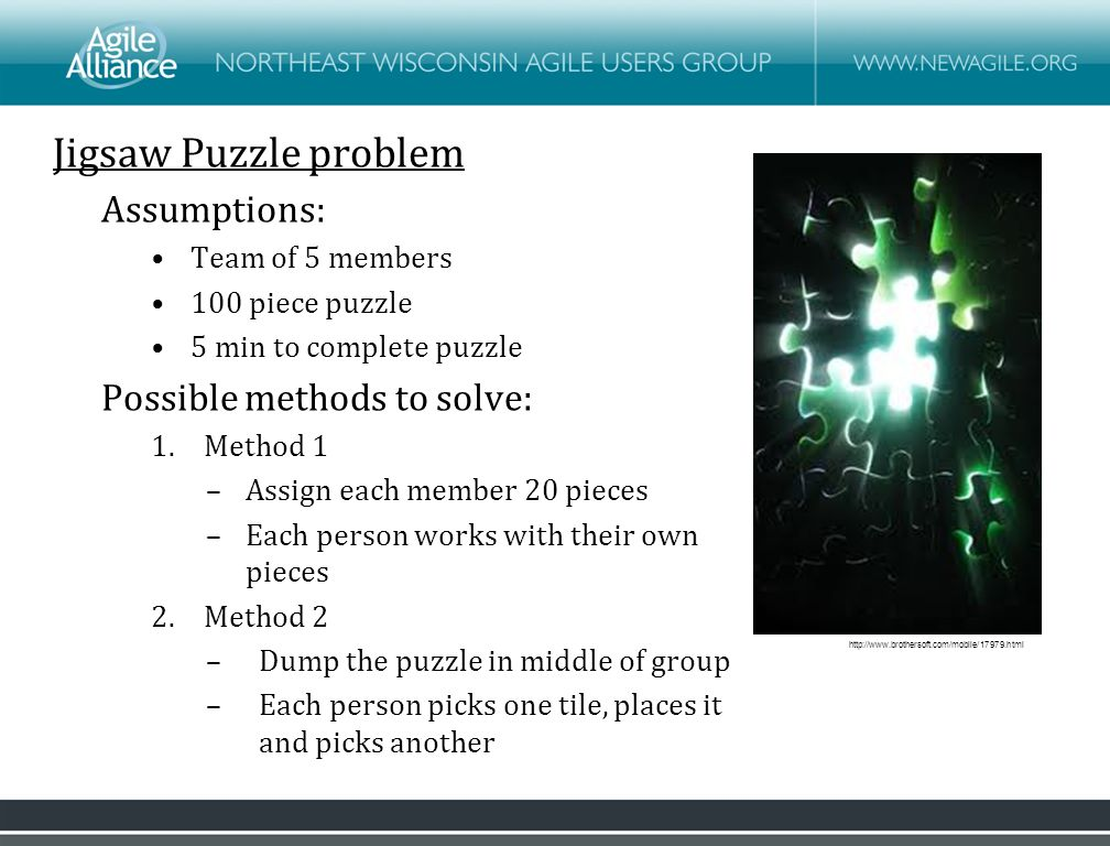 Jigsaw Puzzle problem Assumptions: Team of 5 members 100 piece puzzle 5 min to complete puzzle Possible methods to solve: 1.Method 1 –Assign each member 20 pieces –Each person works with their own pieces 2.Method 2 –Dump the puzzle in middle of group –Each person picks one tile, places it and picks another