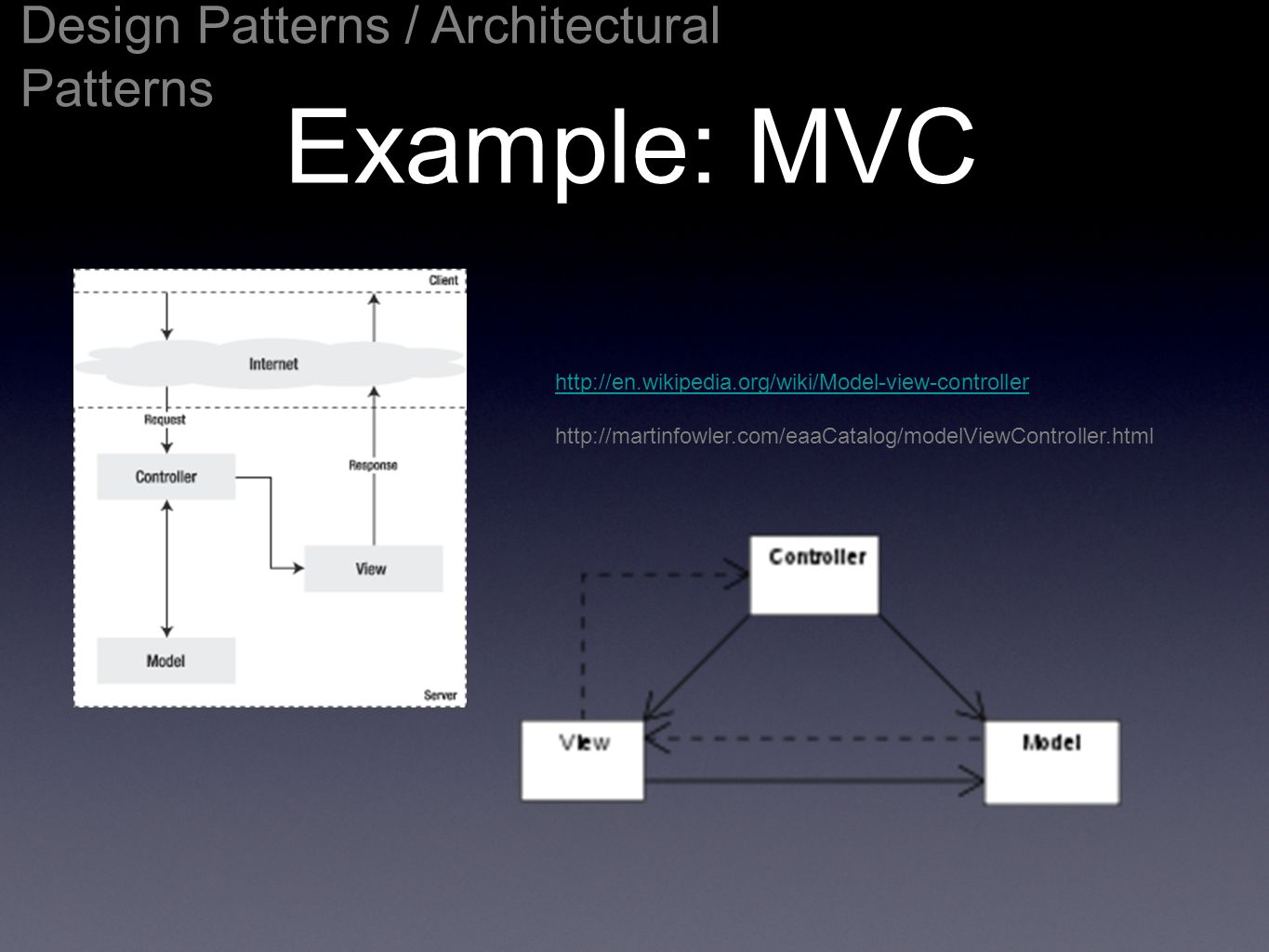 Example: MVC Design Patterns / Architectural Patterns http://en.wikipedia.org/wiki/Model-view-controller http://martinfowler.com/eaaCatalog/modelViewC
