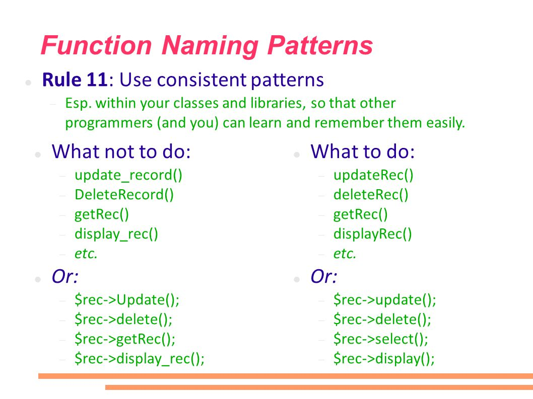 Function Naming Patterns What not to do: update_record() DeleteRecord() getRec() display_rec() etc.