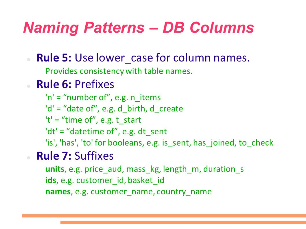 Naming Patterns – DB Columns Rule 5: Use lower_case for column names. Provides consistency with table names. Rule 6: Prefixes 'n' = number of, e.g. n_