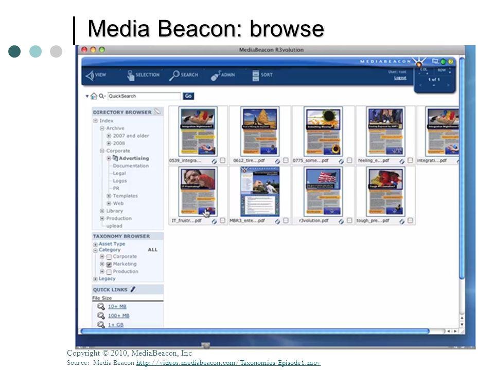 © 2010 Donna Slawsky Media Beacon: browse Copyright © 2010, MediaBeacon, Inc Source: Media Beacon http://videos.mediabeacon.com/Taxonomies-Episode1.mo