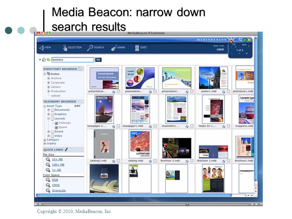 © 2010 Donna Slawsky Media Beacon: narrow down search results Copyright © 2010, MediaBeacon, Inc