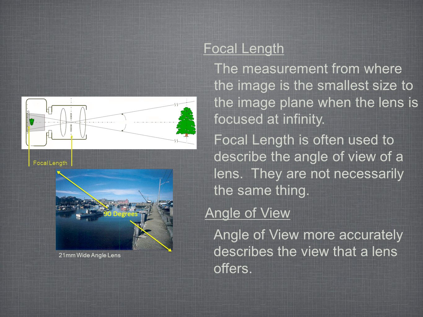 Focal Length The measurement from where the image is the smallest size to the image plane when the lens is focused at infinity.