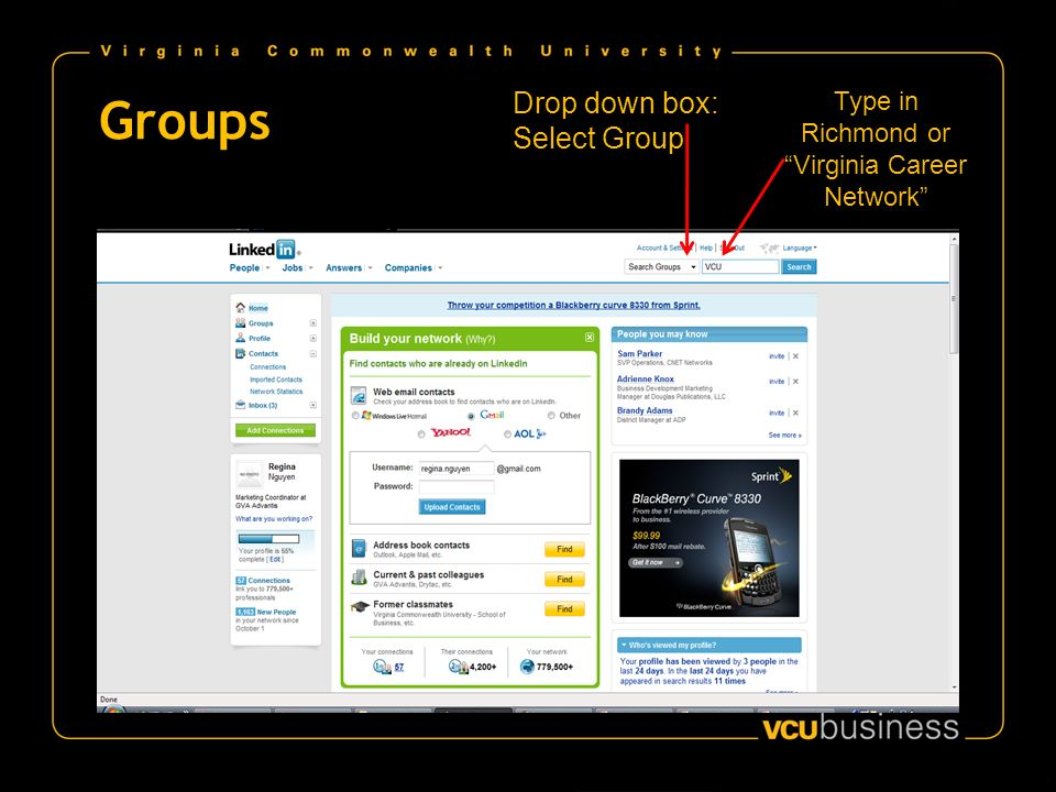 Groups Drop down box: Select Group Type in Richmond or Virginia Career Network