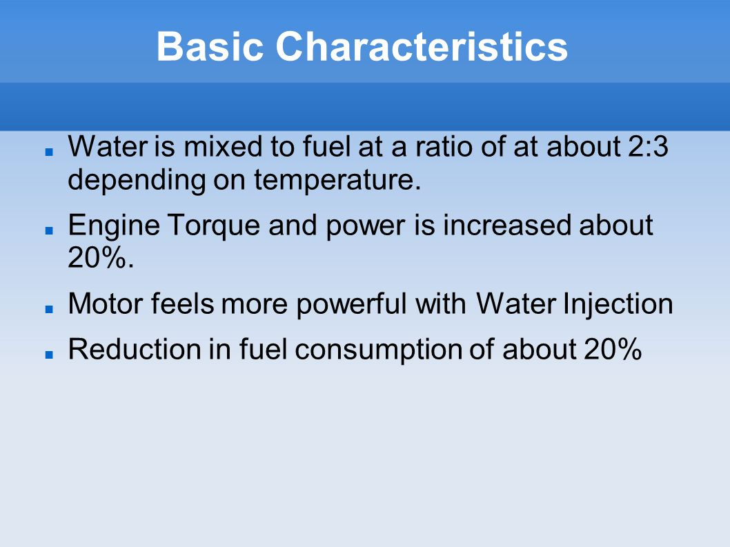 Emission Reductions Water Injection is known to reduce Nitric Oxide as combustion temperatures are lower.