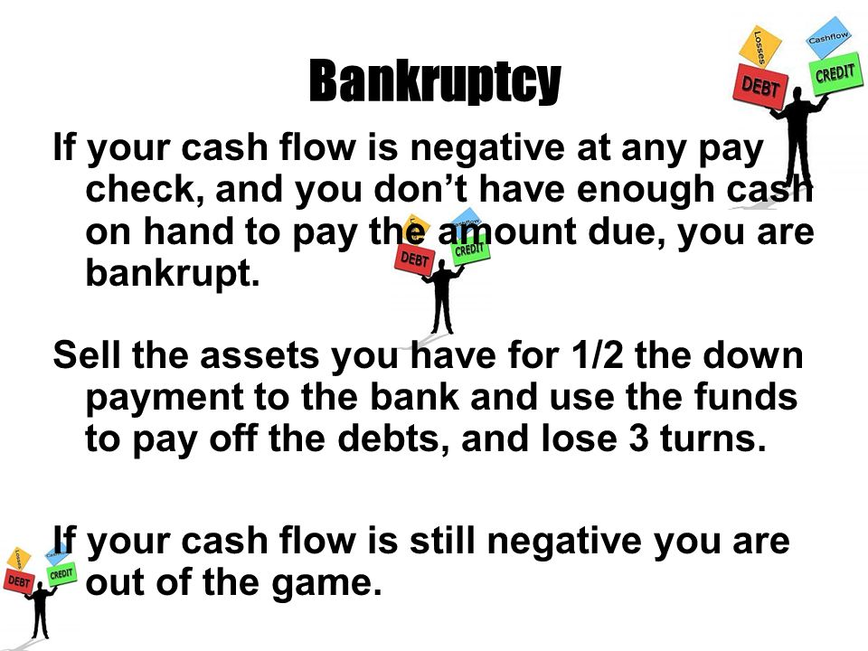 Bankruptcy If your cash flow is negative at any pay check, and you dont have enough cash on hand to pay the amount due, you are bankrupt. Sell the ass