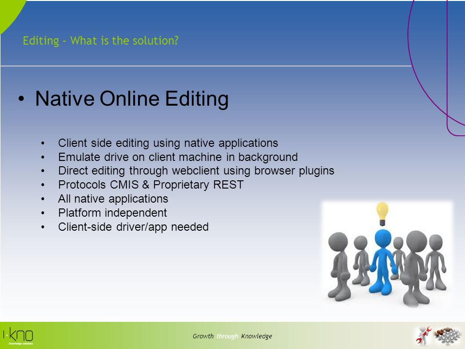 Editing – What is the solution? Growth through Knowledge Native Online Editing Client side editing using native applications Emulate drive on client m
