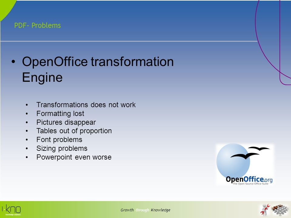 PDF– Problems Growth through Knowledge OpenOffice transformation Engine Transformations does not work Formatting lost Pictures disappear Tables out of