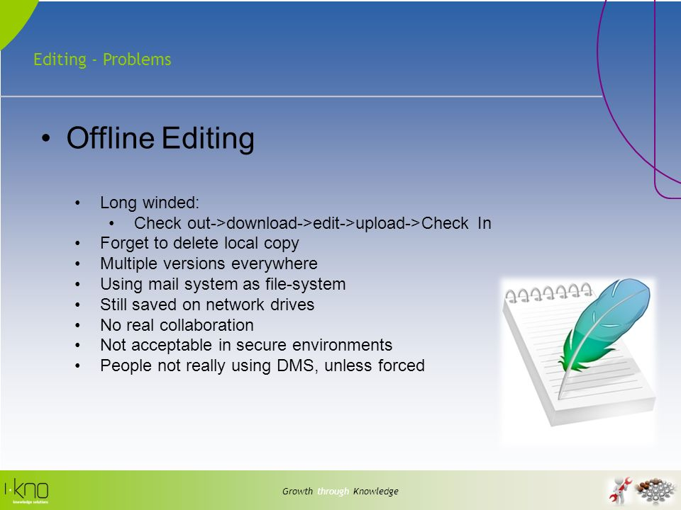 Editing - Problems Growth through Knowledge Offline Editing Long winded: Check out->download->edit->upload->Check In Forget to delete local copy Multiple versions everywhere Using mail system as file-system Still saved on network drives No real collaboration Not acceptable in secure environments People not really using DMS, unless forced