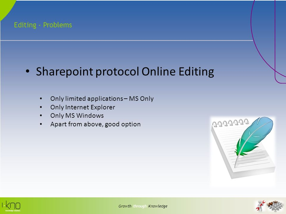 Editing - Problems Growth through Knowledge Sharepoint protocol Online Editing Only limited applications – MS Only Only Internet Explorer Only MS Windows Apart from above, good option