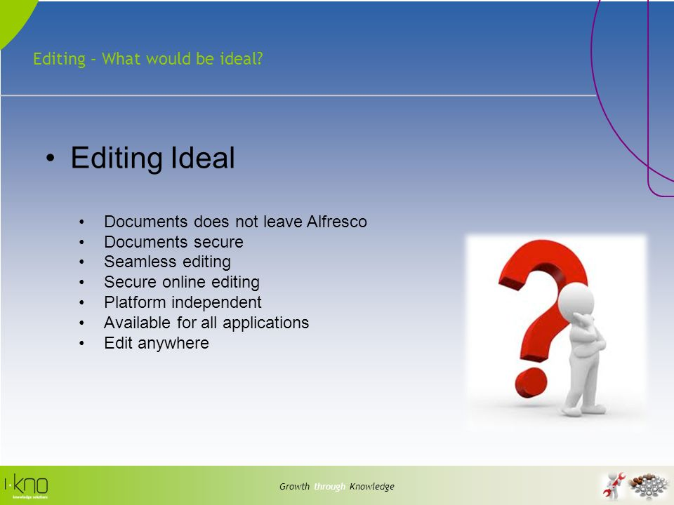 Editing – What would be ideal? Growth through Knowledge Editing Ideal Documents does not leave Alfresco Documents secure Seamless editing Secure onlin