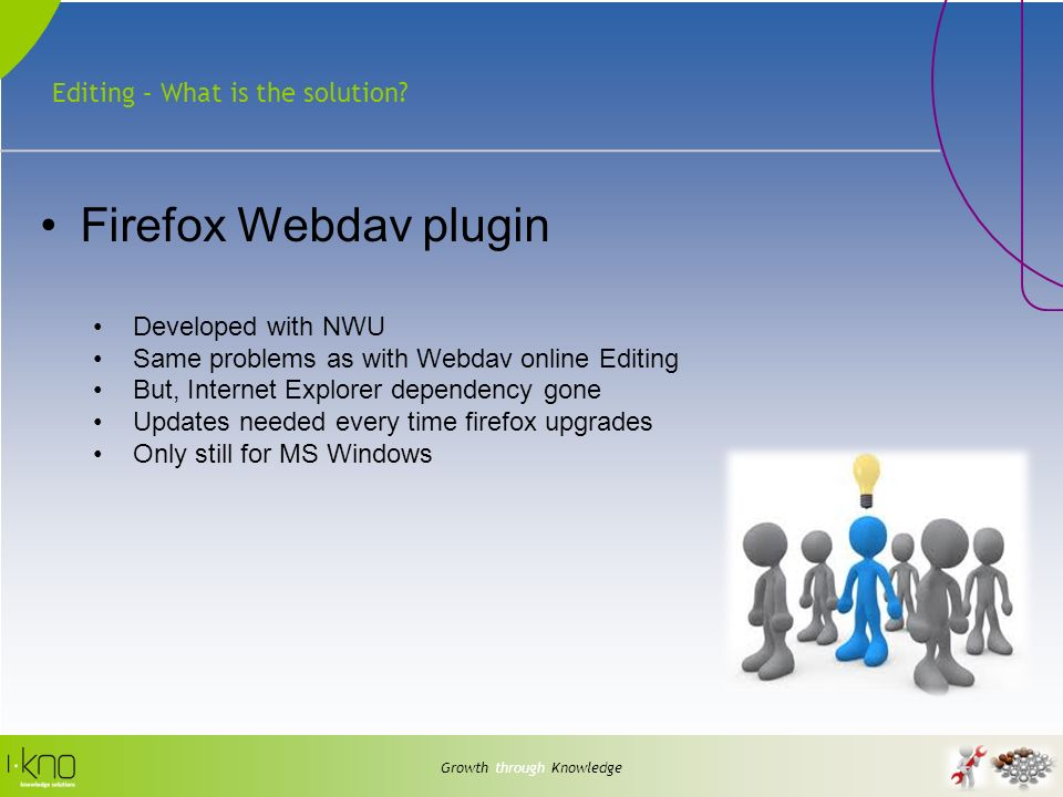 Editing – What is the solution? Growth through Knowledge Firefox Webdav plugin Developed with NWU Same problems as with Webdav online Editing But, Int