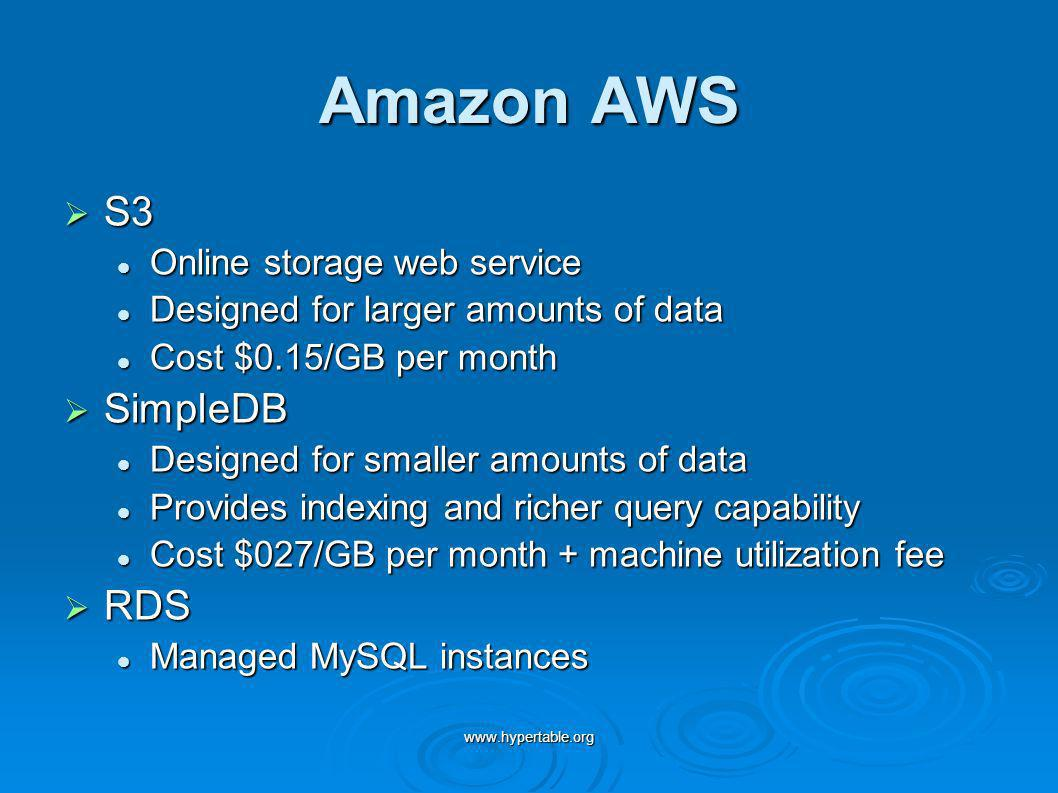www.hypertable.org Amazon AWS S3 S3 Online storage web service Online storage web service Designed for larger amounts of data Designed for larger amou