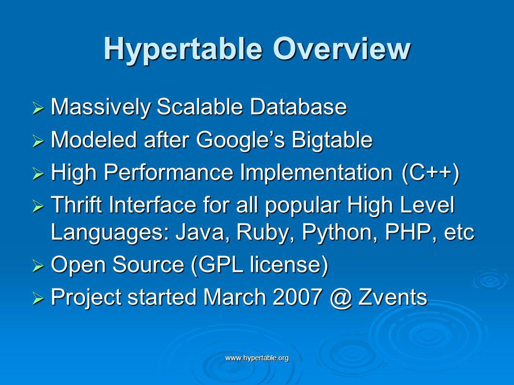 www.hypertable.org Hypertable Overview Massively Scalable Database Massively Scalable Database Modeled after Googles Bigtable Modeled after Googles Bigtable High Performance Implementation (C++) High Performance Implementation (C++) Thrift Interface for all popular High Level Languages: Java, Ruby, Python, PHP, etc Thrift Interface for all popular High Level Languages: Java, Ruby, Python, PHP, etc Open Source (GPL license) Open Source (GPL license) Project started March 2007 @ Zvents Project started March 2007 @ Zvents