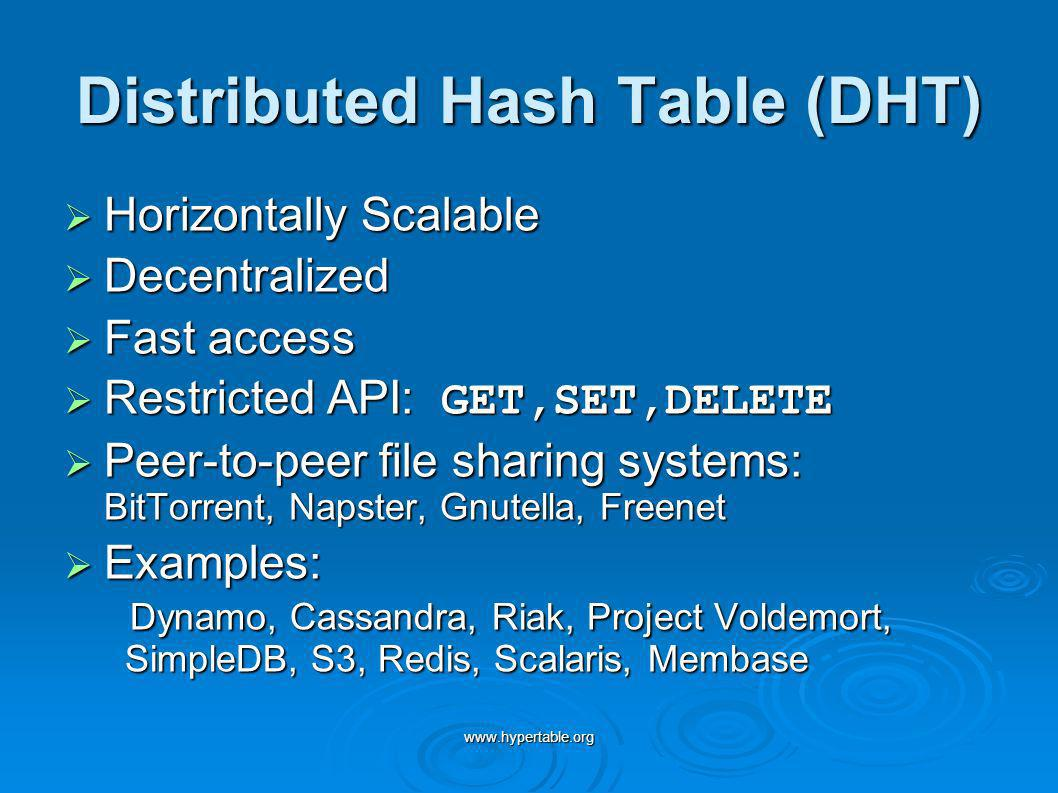 www.hypertable.org Distributed Hash Table (DHT) Horizontally Scalable Horizontally Scalable Decentralized Decentralized Fast access Fast access Restri