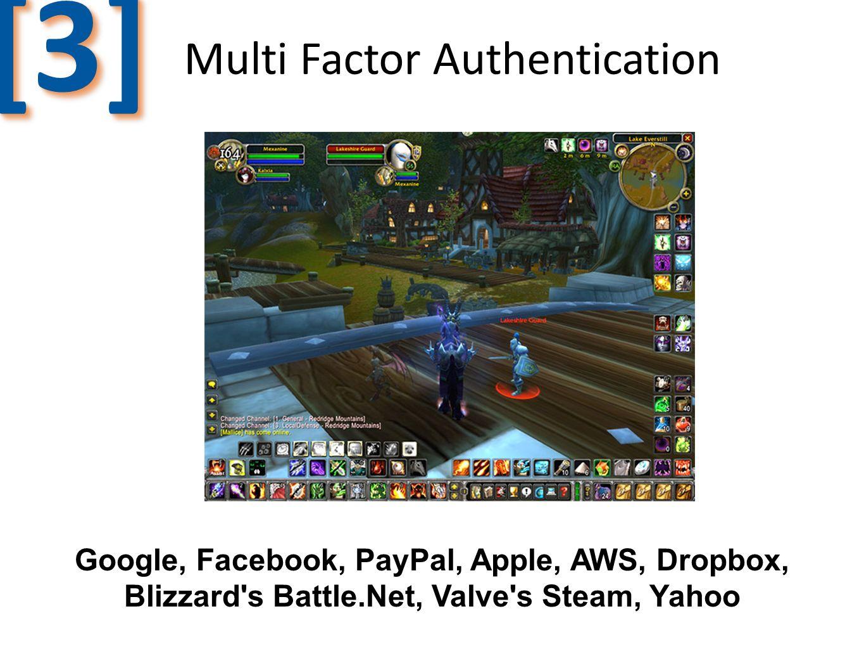 Multi Factor Authentication [3][3] Google, Facebook, PayPal, Apple, AWS, Dropbox, Blizzard's Battle.Net, Valve's Steam, Yahoo